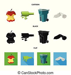 Vector illustration of dump and sort sign. Collection of dump and junk stock vector illustration.