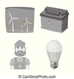 Vector design of electricity and electric icon. Collection of electricity and energy stock vector illustration.