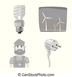 Vector design of electricity and electric sign. Collection of electricity and energy vector icon for stock.