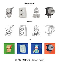 Vector design of electricity and electric sign. Collection...