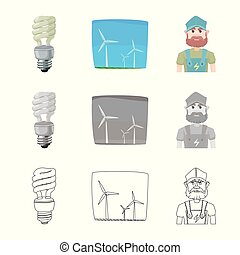 Vector design of electricity and electric symbol. Collection of electricity and energy vector icon for stock.