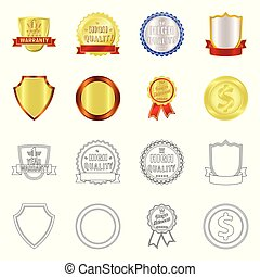 Vector design of emblem and badge sign. Collection of emblem and sticker stock vector illustration.