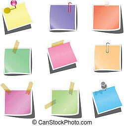 paper notes with push pin and paperclip
