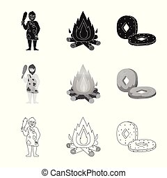 Vector design of evolution and neolithic icon. Collection of evolution and primeval vector icon for stock.