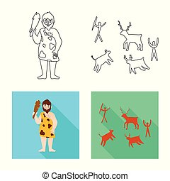 Vector design of evolution and neolithic symbol. Set of evolution and primeval vector icon for stock.