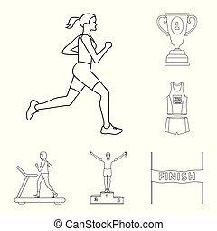 Vector design of exercise and sprinter  logo. Collection of exercise and marathon vector icon for stock.