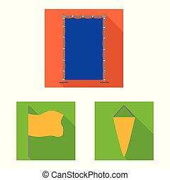Vector design of fabric and white sign. Set of fabric and presentation stock vector illustration.