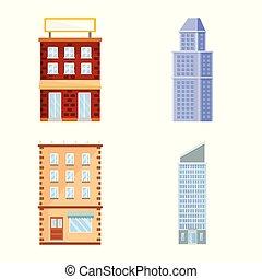 Vector design of facade and building icon. Set of facade and exterior stock symbol for web.