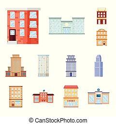 Vector design of facade and building icon. Set of facade and exterior stock vector illustration.
