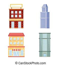 Vector design of facade and building logo. Set of facade and exterior stock vector illustration.