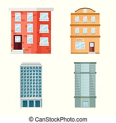 Vector design of facade and building logo. Set of facade and exterior vector icon for stock.