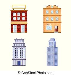 Vector design of facade and building sign. Set of facade and exterior stock symbol for web.
