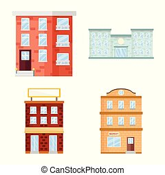 Vector design of facade and building symbol. Collection of facade and exterior vector icon for stock.