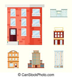 Vector design of facade and building symbol. Set of facade and exterior stock symbol for web.