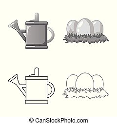 Vector design of farm and agriculture symbol. Set of farm and plant vector icon for stock.