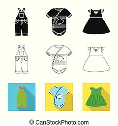 Vector design of fashion and garment symbol. Set of fashion and cotton stock vector illustration.