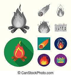 Vector design of fire and flame icon. Set of fire and fireball stock vector illustration.