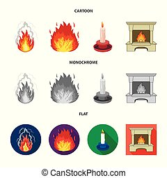 Vector design of fire and flame sign. Set of fire and fireball stock vector illustration.