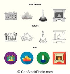 Vector design of fire and flame sign. Set of fire and fireball vector icon for stock.