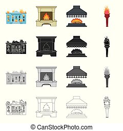 Vector design of fire and flame symbol. Collection of fire and fireball stock vector illustration.