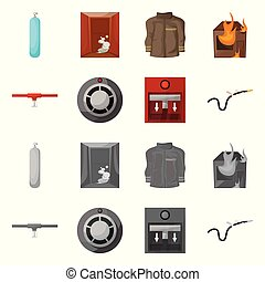 Vector design of firefighters and fire icon. Collection of firefighters and equipment stock symbol for web.