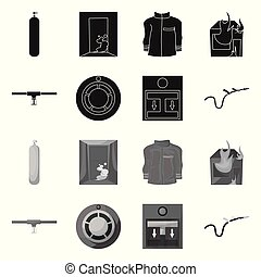 Vector design of firefighters and fire symbol. Collection of firefighters and equipment vector icon for stock.