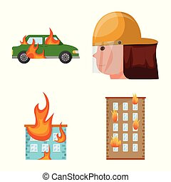 Vector design of firefighters and fire symbol. Set of firefighters and equipment stock symbol for web.