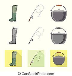 Vector design of fish and fishing icon. Set of fish and equipment stock symbol for web.