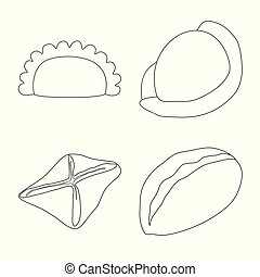 Vector design of food and dish symbol. Collection of food and cooking stock vector illustration.