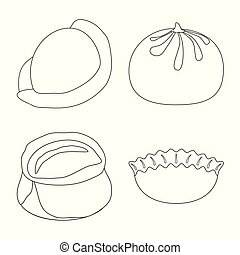 Vector design of food and dish symbol. Set of food and cooking stock vector illustration.