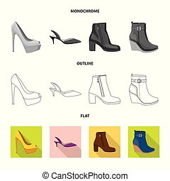 Vector design of footwear and woman symbol. Collection of footwear and foot vector icon for stock.