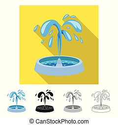 Vector design of fountain and water symbol. Set of fountain and sculpture vector icon for stock.