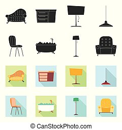 Vector design of furniture and apartment logo. Collection of...