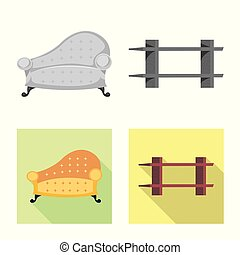Vector design of furniture and apartment symbol. Collection...