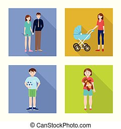 Vector design of generation and happy sign. Collection of generation and avatar vector icon for stock.