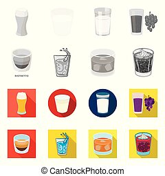 Vector design of glass and transparent icon. Collection of glass and empty stock vector illustration.