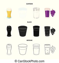 Vector design of glass and transparent icon. Set of glass and empty stock symbol for web.