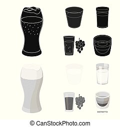 Vector design of glass and transparent icon. Set of glass and empty stock vector illustration.
