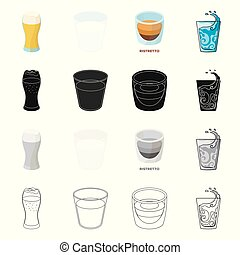 Vector design of glass and transparent icon. Set of glass and empty vector icon for stock.