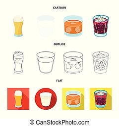 Vector design of glass and transparent logo. Collection of glass and empty stock vector illustration.