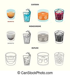 Vector design of glass and transparent sign. Set of glass and empty stock vector illustration.