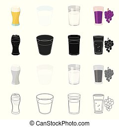Vector design of glass and transparent symbol. Set of glass and empty vector icon for stock.