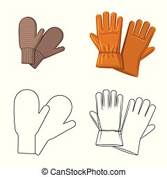 Vector design of glove and winter icon. Set of glove and equipment stock symbol for web.