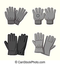 Vector design of glove and winter logo. Set of glove and equipment stock symbol for web.