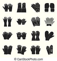 Vector design of glove and winter symbol. Set of glove and equipment vector icon for stock.