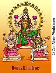 Goddess Lakshmi for Happy Diwali prayer festival of India in Indian art style