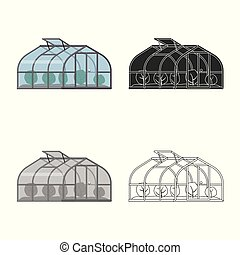 Vector design of greenhouse and plant logo. Collection of greenhouse and garden stock symbol for web.