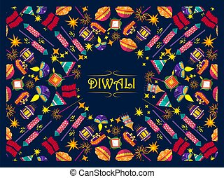 Vector design of Happy Diwali traditional festival of India greeting background with colorful diya