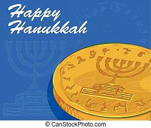 Happy Hanukkah festival celebration background - Vector...
