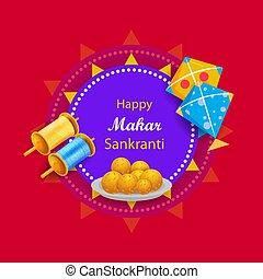 Vector design of Happy Makar Sankranti religious traditional festival of India celebration background